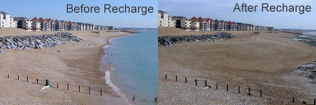 Sovereign Harbour showing recharge material remaining in situ on the beach