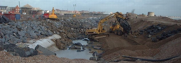 Sovereign Harbour revetment under construction, 2001